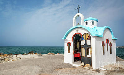 Crete Photograph - Colorful Greek Chapel by Delphimages Photo Creations
