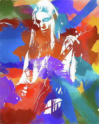 Musicians Mixed Media Rights Managed Images - Colorful Gregg Allman Royalty-Free Image by Dan Sproul