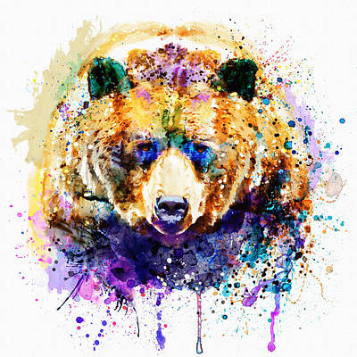 Mixed Media - Colorful Grizzly Bear by Marian Voicu
