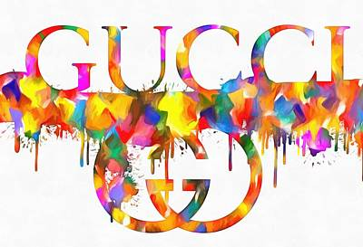 Black And White Flower Photography - Colorful Gucci Paint Splatter by Dan Sproul