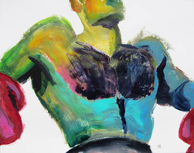 Painting - Colorful Hairy Boxer by Shungaboy X