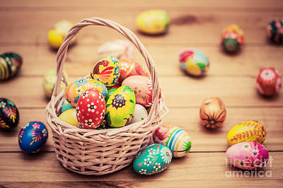Slavic Photograph - Colorful Hand Painted Easter Eggs In Basket And On Wood by Michal Bednarek