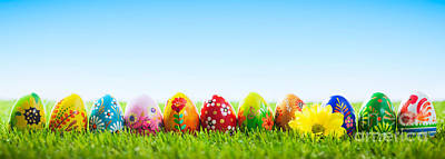 April Photograph - Colorful Hand Painted Easter Eggs On Grass by Michal Bednarek
