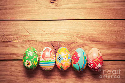 Hand Photograph - Colorful Hand Painted Easter Eggs On Wood by Michal Bednarek