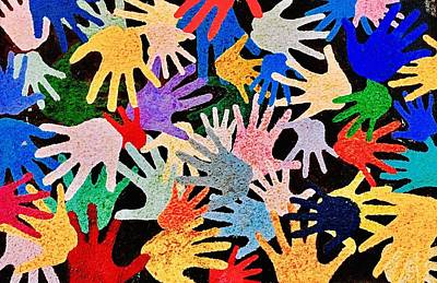 Painting - Colorful Hands by Carol Tsiatsios