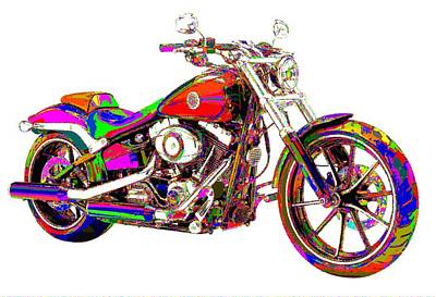 Painting - Colorful Harley-davidson Breakout by Samuel Majcen