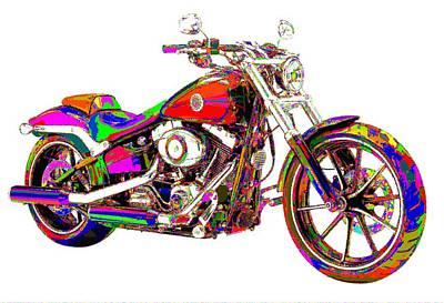 Colorful Harley-davidson Breakout Art Print