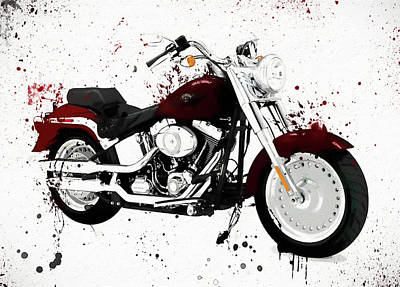 Motorcycle Painting - Colorful Harley Davidson Paint Splatter by Dan Sproul