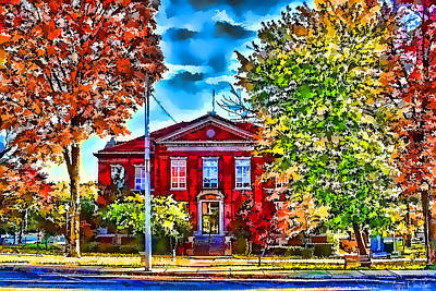 Colorful Harrison Courthouse Art Print by Kathy Tarochione
