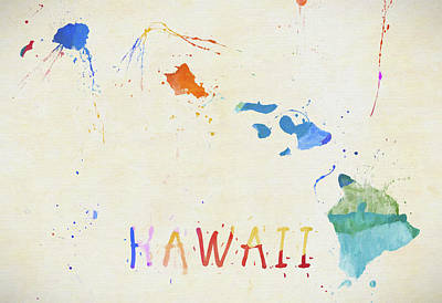 Painting - Colorful Hawaii Map by Dan Sproul