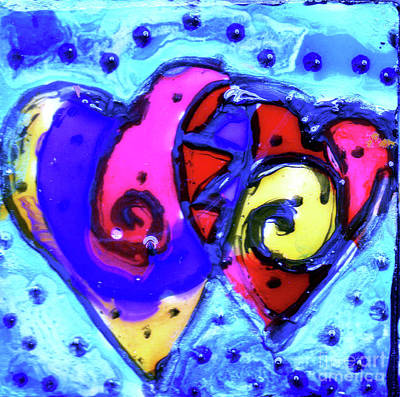 Painting - Colorful Hearts Equals Crazy Hearts by Genevieve Esson