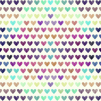 Heart Wall Art - Digital Art - Colorful Hearts IIi by Amir Faysal
