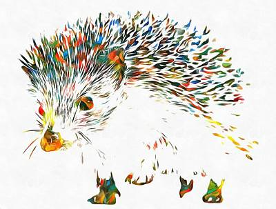 Vet Mixed Media - Colorful Hedgehog by Dan Sproul
