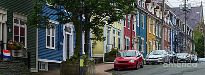Photograph - Colorful Homes And Cars In St.john's by Les Palenik