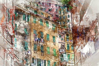 Toscana Digital Art - Colorful Homes In Cinque Terre Italy  by Brandon Bourdages