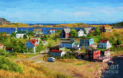 Digital Art - Colorful Homes In Trinity, Newfoundland - Painterly by Les Palenik