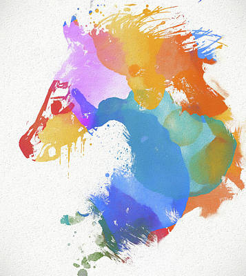 Painting - Colorful Horse Head by Dan Sproul
