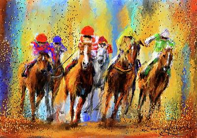 Painting - Colorful Horse Racing - Signed by Lourry Legarde