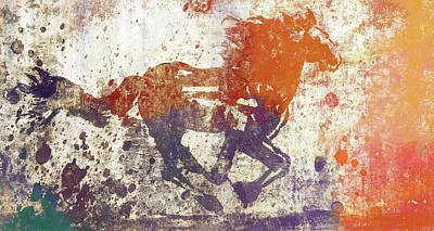 Mixed Media - Colorful Horse Running Grunge by Dan Sproul