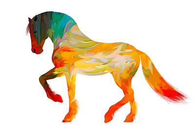 Rooster Digital Art - Colorful Horse by Art Spectrum