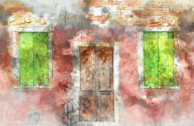 Old Town Digital Art - colorful house in Burano island Venice Italy by Brandon Bourdages