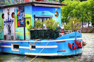 Colorful Houseboat On The Saone River Art Print by George Oze