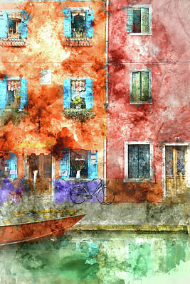 Colorful Houses In Burano Island, Venice Art Print