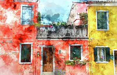Old Town Digital Art - Colorful Houses In Burano Island Venice Italy by Brandon Bourdages
