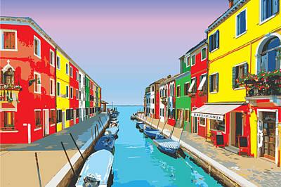 Digital Art - Colorful Italien Houses In Burano by Inge Lewis
