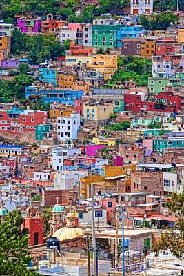 Photograph - Colorful Houses In Guanajuato - Digital Paint by Tatiana Travelways