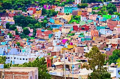 Photograph - Colorful Houses In Guanajuato - Watercolor by Tatiana Travelways
