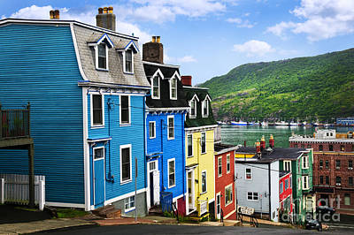 Bay Photograph - Colorful Houses In St. John's by Elena Elisseeva