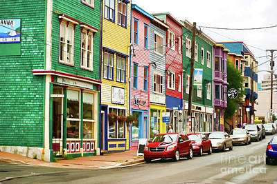 Digital Art - Colorful Houses In St Johns In Newfoundland by Les Palenik