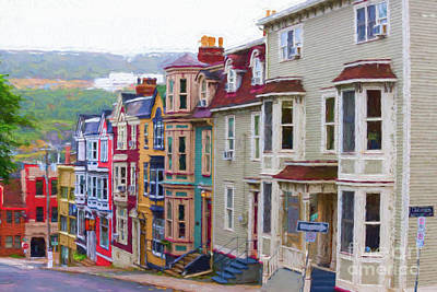 Digital Art - Colorful Houses In St. Johns, Nl by Les Palenik