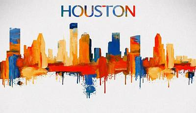 Control Center Painting - Colorful Houston Skyline Silhouette by Dan Sproul
