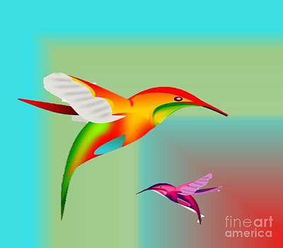 Painting - Colorful Hummingbirds by Belinda Threeths