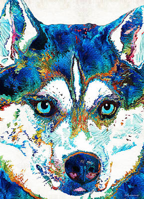 Snow Sports Painting - Colorful Husky Dog Art By Sharon Cummings by Sharon Cummings