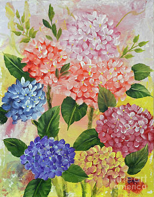 Wet-on-wet-technique Painting - Colorful Hydrangeas by Jimmie Bartlett