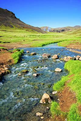 Photograph - Colorful Iceland Landscape Blue Green Orange by Matthias Hauser