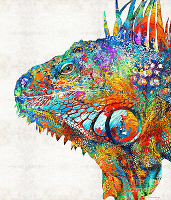 Colorful Iguana Art - One Cool Dude - Sharon Cummings Print by Sharon Cummings