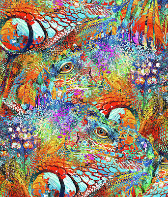Iguana Painting - Colorful Iguana Art - Tropical Two - Sharon Cummings by Sharon Cummings