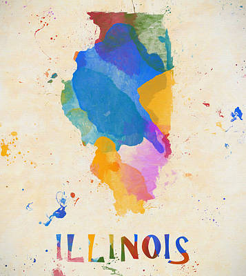 Painting - Colorful Illinois State by Dan Sproul