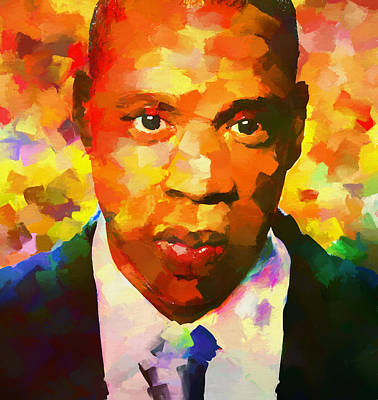 Jay Z Wall Art - Painting - Colorful Jay Z Palette Knife by Dan Sproul