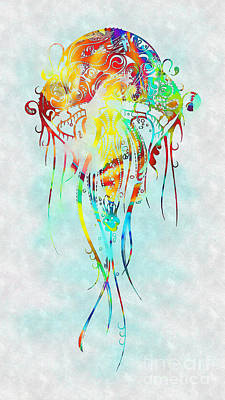 Mixed Media - Colorful Jellyfish by Olga Hamilton