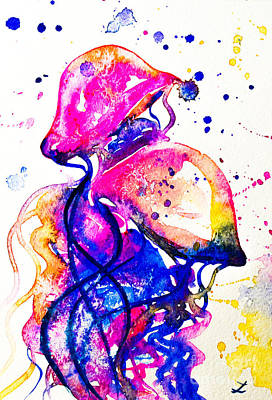 Painting - Colorful Jellyfish by Zaira Dzhaubaeva