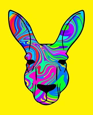 Kangaroo Digital Art - Colorful Kangaroo by Chris Butler
