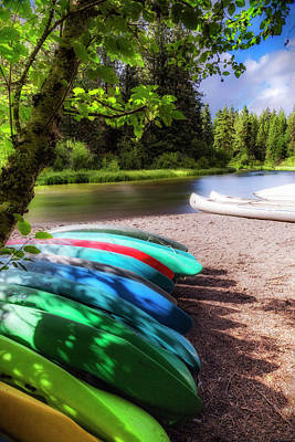 Colorful Kayaks Art Print