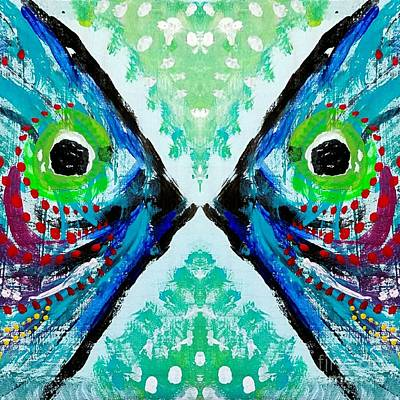 Colorful Kissing Fish Art Print by Scott D Van Osdol