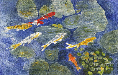 Painting - Colorful Koi by Conni Schaftenaar