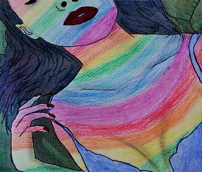 Colorful Lady Art Print by Lucy Frost